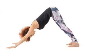 nedåtgående hund utförd av en yogis